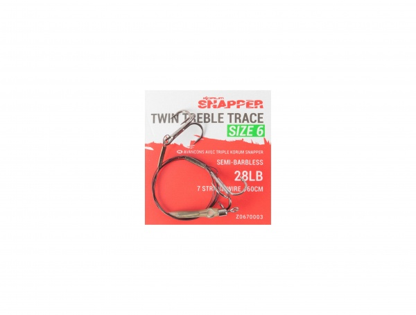 Korum Snapper Twin Treble Trace Size 6